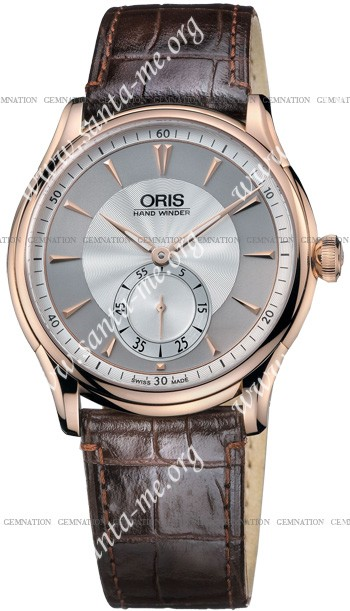 Oris Artelier 18k Rosegold Hand Winding Mens Wristwatch 39675806051LS