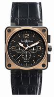 Bell & Ross Aviation BR0194 Pink Gold &Carbon Officer Mens Wristwatch
